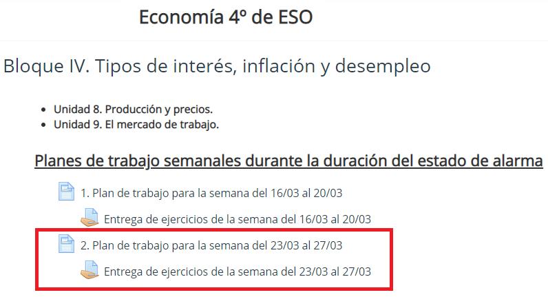 Plan de trabajo semana 2 Economía 4º de ESO